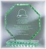 Octagon Jade Glass with Chipped Pearl Edge Jade Glass Awards