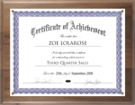 Solid Wood Certificate Plaque Achievement Awards
