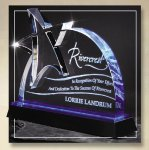 Blue Lasered Star Accent On Base Acrylic Awards with Color