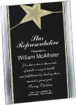 Black/Gold Standing Star Acrylic Recognition Plaque Corporate Acrylic Awards