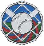 Baseball  Decagon Colored Medallions