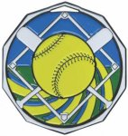 Softball  Decagon Colored Medallions