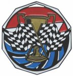 Racing/Checkered Flags and Cup  Decagon Colored Medallions
