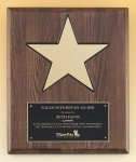 Walnut Stained Piano Finish Plaque with 8 Gold Star Employee Awards