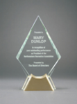 Diamond Glass with  Gold Metal Base Glass and Metal Awards