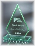 Conquest Jade Glass with Chipped Pearl Edge Jade Glass Awards