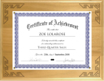 Solid Wood Certificate Plaque with Lasered Corners Music Trophy Awards