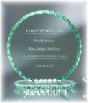 Circle Jade Glass with Chipped Pearl Edge Photo Perpetual Plaques