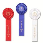 Classic Single Streamer Rosette Award Ribbon Victory Trophy Awards
