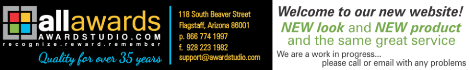 Award Studio, LLC - acrylic awards, crystal awards, cup trophies, perpetual plaques, baseball trophies, football trophies, soccer trophies, corporate plaques, recognition plaques, glass awards, gifts, clocks, flagstaff, arizona